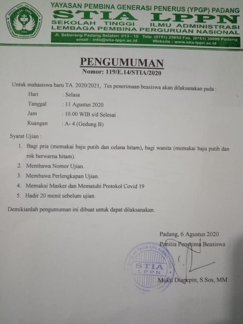 Jadwal Tes Penerima Beasiswa Ta.2020/2021
